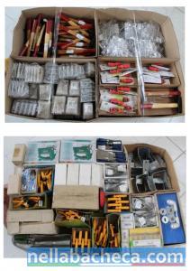 Stock ferramenta mista 25 bancali + muletto elettrico Still